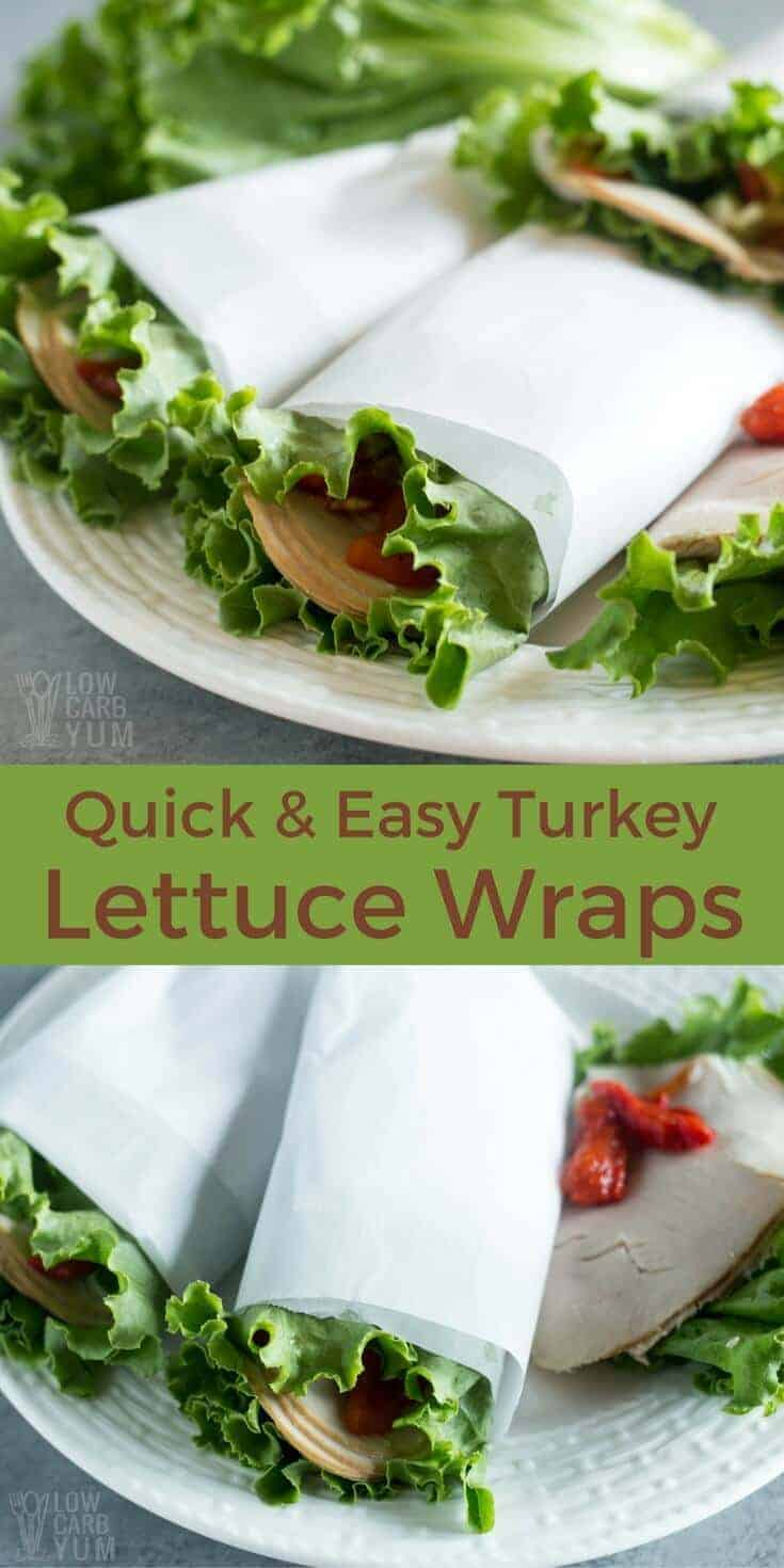 Quick and easy low carb lettuce wraps make a perfect keto lunch on the go. Just wrap deli meat, cheese, and veggies in a large lettuce leaf. | LowCarbYum.com