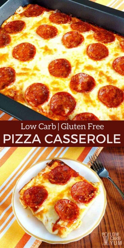 A delicious keto low carb pizza casserole that will be enjoyed by all. And, the easy to make gluten free crust is made with every day ingredients. #lowcarbpizza #ketopizza #pizzacasserole| LowCarbYum.com