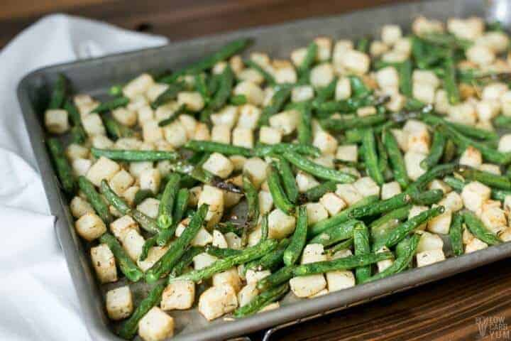 Sheet pan roasted jicama with green beans