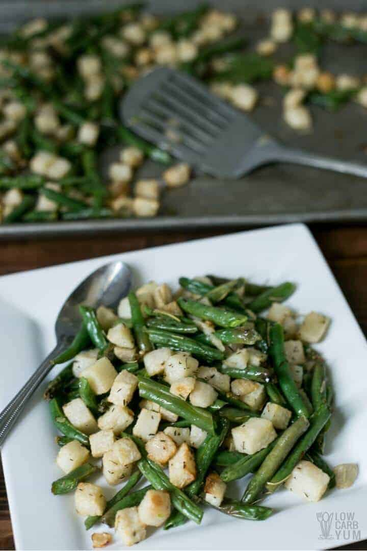 serving roasted jicama recipe with green beans