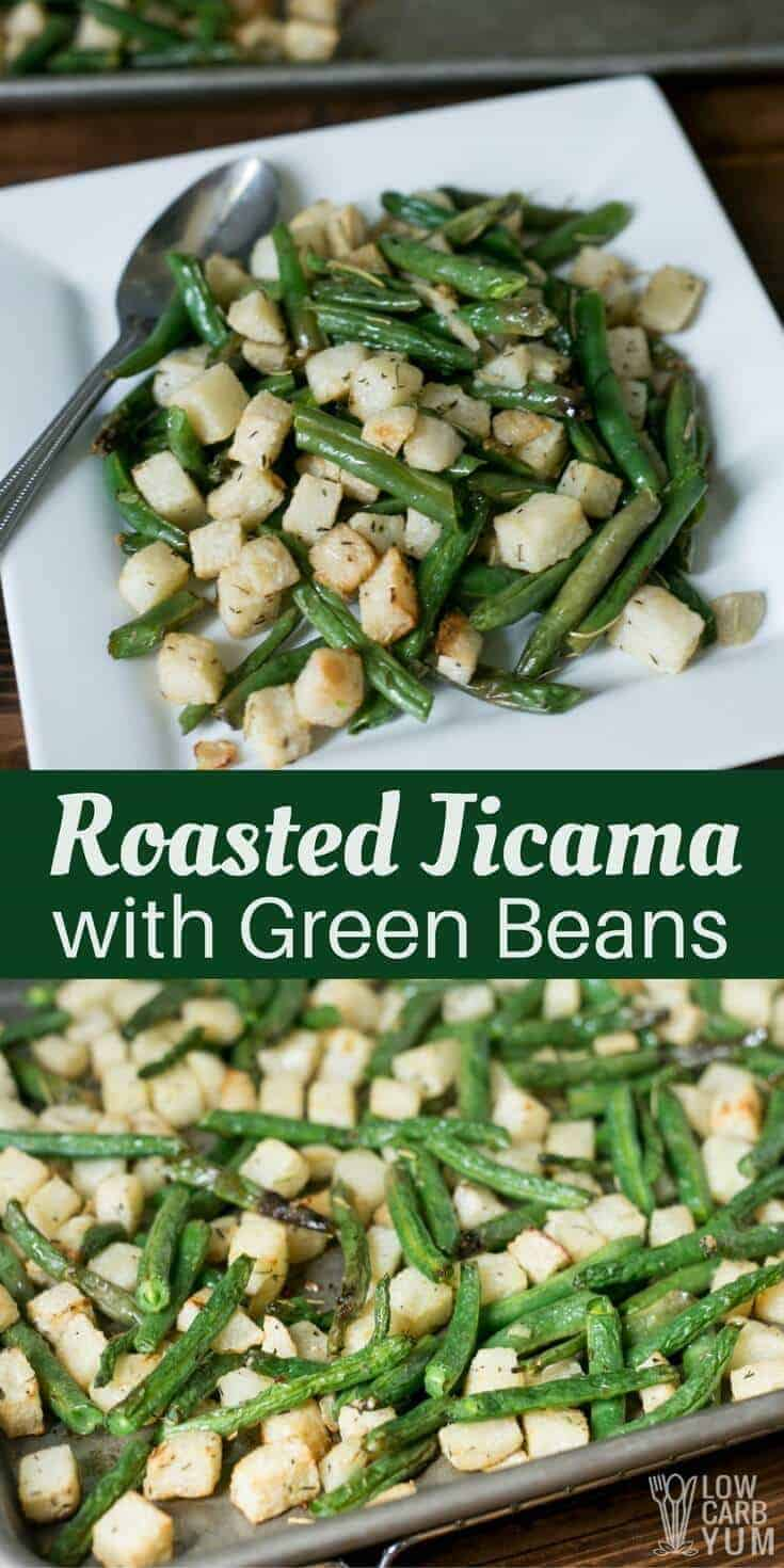 An easy roasted jicama with green beans that bakes up on a sheet pan. It's a great paleo friendly recipe seasoned with olive oil, garlic, and herbs. | LowCarbYum.com