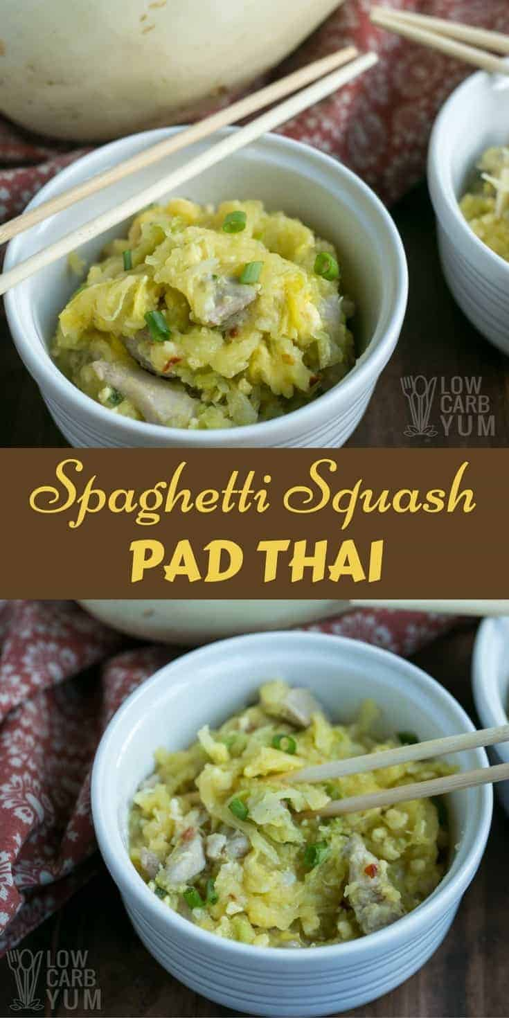 An easy spaghetti squash Pad thai made with chicken. It's a delicious spicy Asian inspired dish that's made low carb and gluten free. | LowCarbYum.com