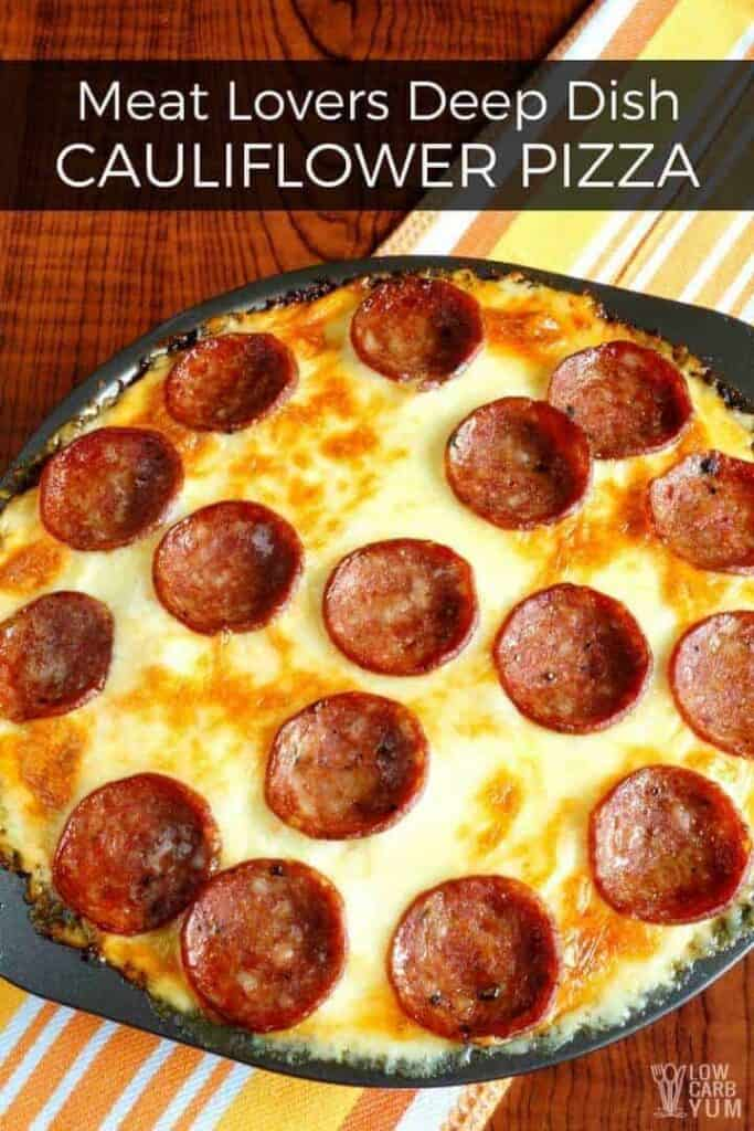 Meat lovers deep dish pan low carb pizza
