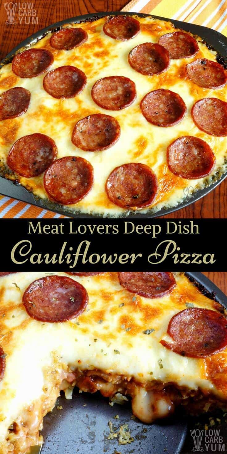 An easy to make meat lovers low carb pizza made in a deep dish pan. This cauliflower crust pizza is gluten free and perfect for a keto diet. #ketomeal #lowcarbdinner | LowCarbYum.com