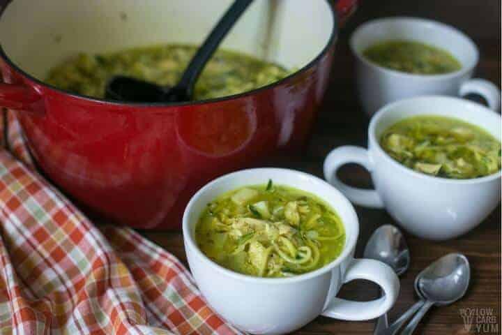 AIP compliant low carb chicken noodle soup