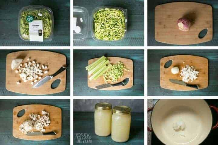 Ingredients for low carb chicken noodle soup
