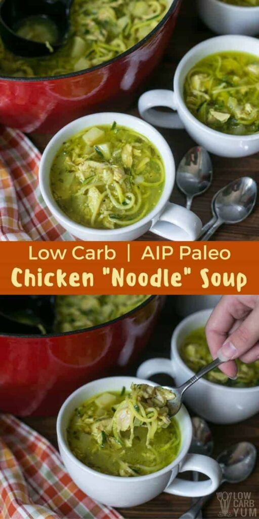 Spiralized zucchini replaces the usual pasta in this delicious keto low carb chicken noodle soup. It's an #AIP #paleo recipe that's pure comfort in a bowl. | LowCarbYum.