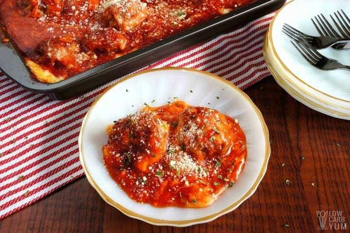serving meatball parmesan casserole