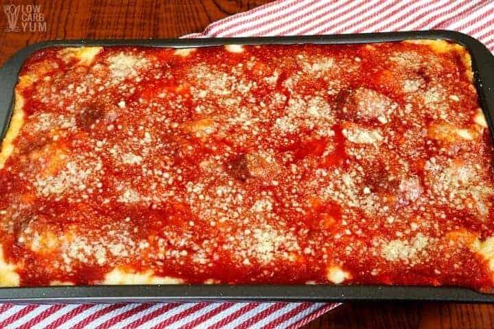 Keto low carb meatball parmesan casserole