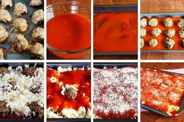 steps to make a low-carb meatball parmesan casserole