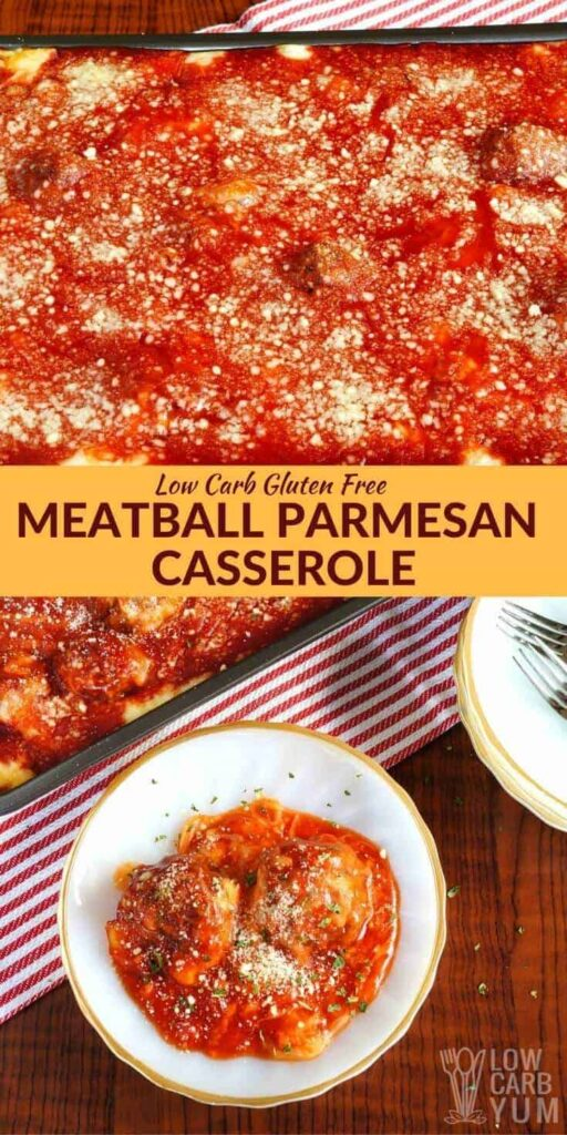 Low carb gluten free meatball parmesan casserole