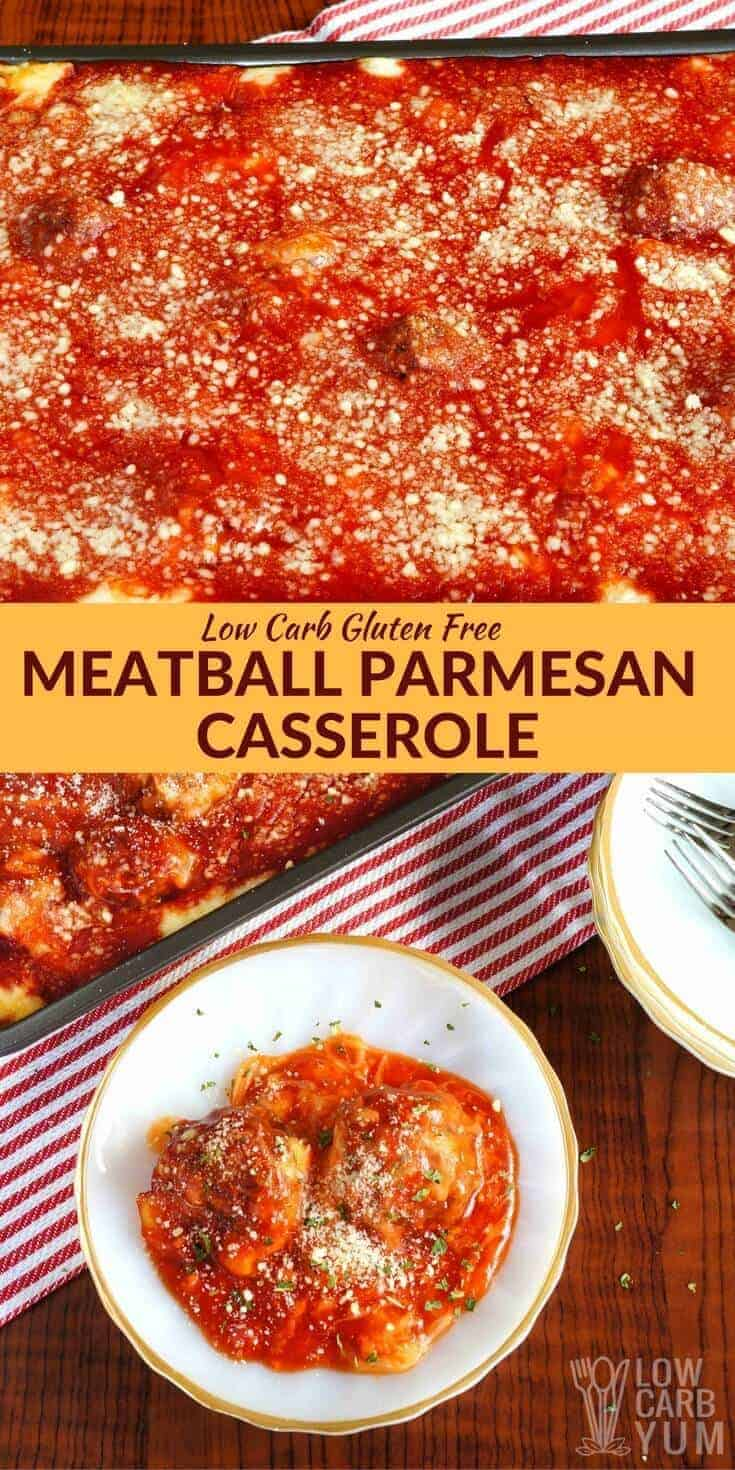Delicious low carb meatballs are baked with marinara sauce and a mix of parmesan and mozzarella cheeses in this simple meatball parmesan casserole. | LowCarbYum.com