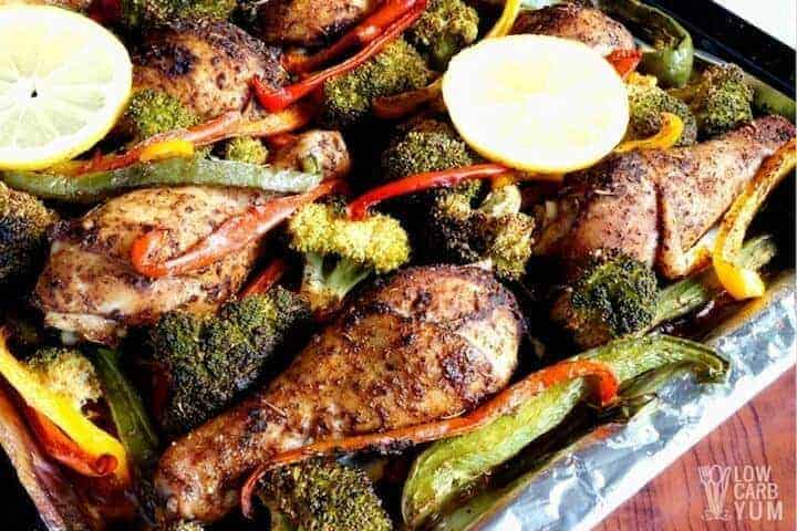 baked one pan chicken and veggies recipe toped with lemon slices