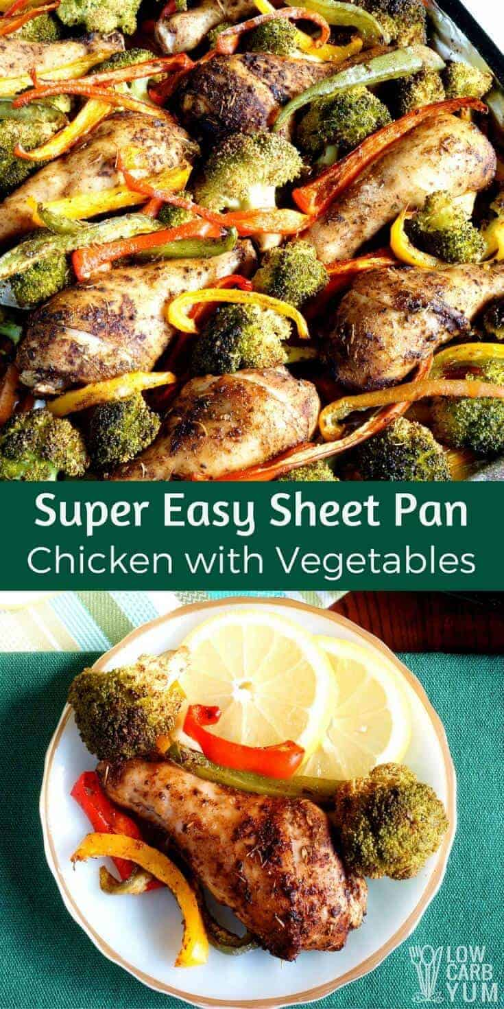For a great weeknight dinner, give this one pan chicken and veggies bake a try. It's even easier if you use pre-cut vegetables! #lowcarb #keto #paleo #onepan | LowCarbYum.com