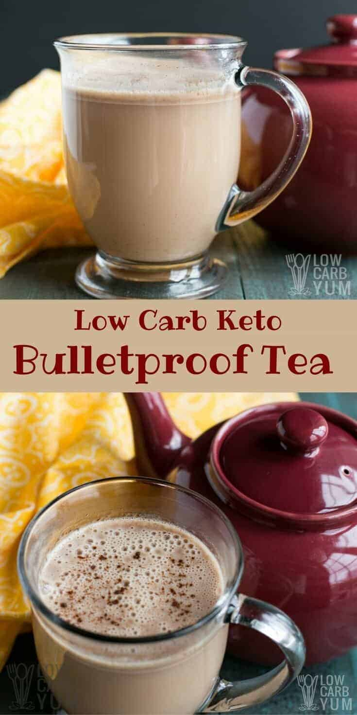 A creamy keto Bulletproof tea is the perfect way to start the day if you aren't a coffee drinker. It's loaded with healthy fats for any low carb diet. #ketodiet | LowCarbYum.com