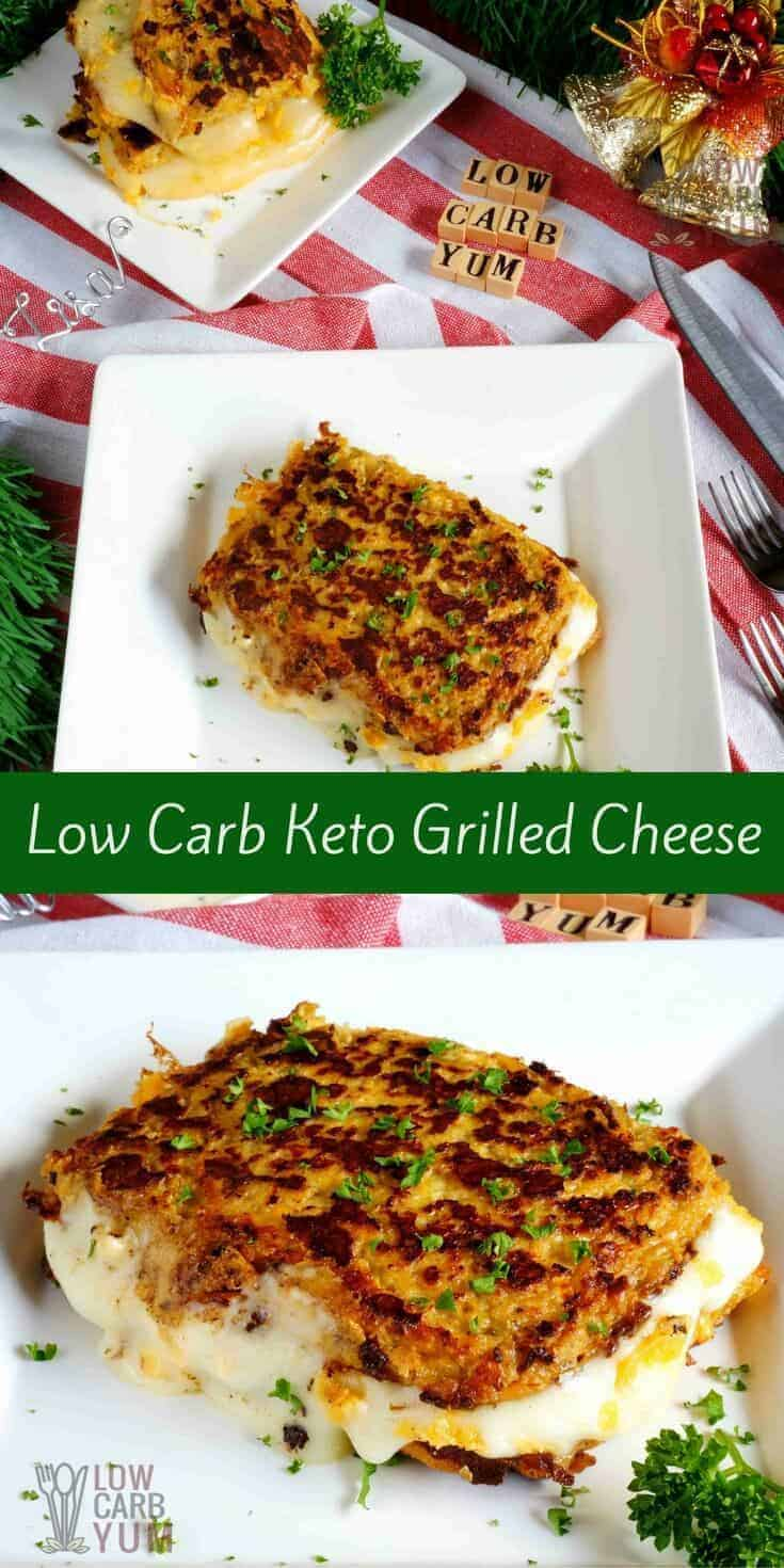 Riced cauliflower is used to make bread slices for easy low carb keto grilled cheese sandwiches. It's a tasty way to sneak in a healthy vegetable. #keto #lowcarb #grilledcheese | LowCarbYum.com