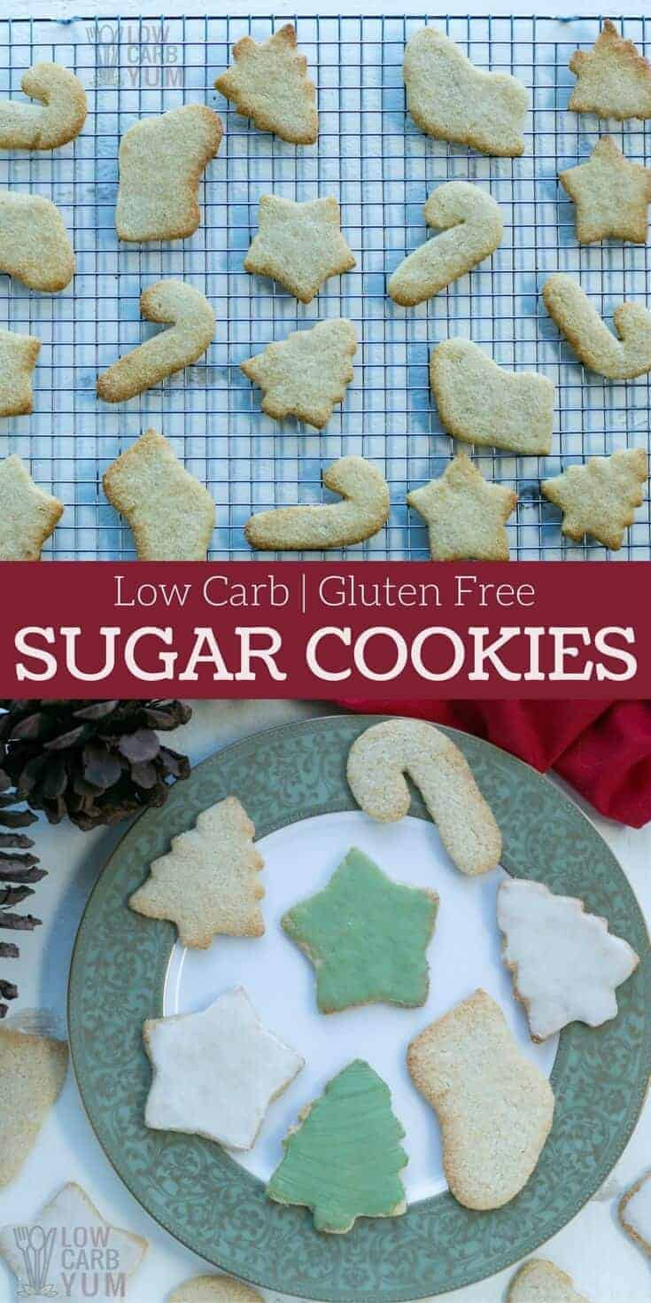 Simple low carb keto sugar cookies are perfect for any holiday or special occasion. These sugar-free and gluten-free treats are sure to be loved by all. #keto #lowcarb #glutenfree #sugarfree | LowCarbYum.com
