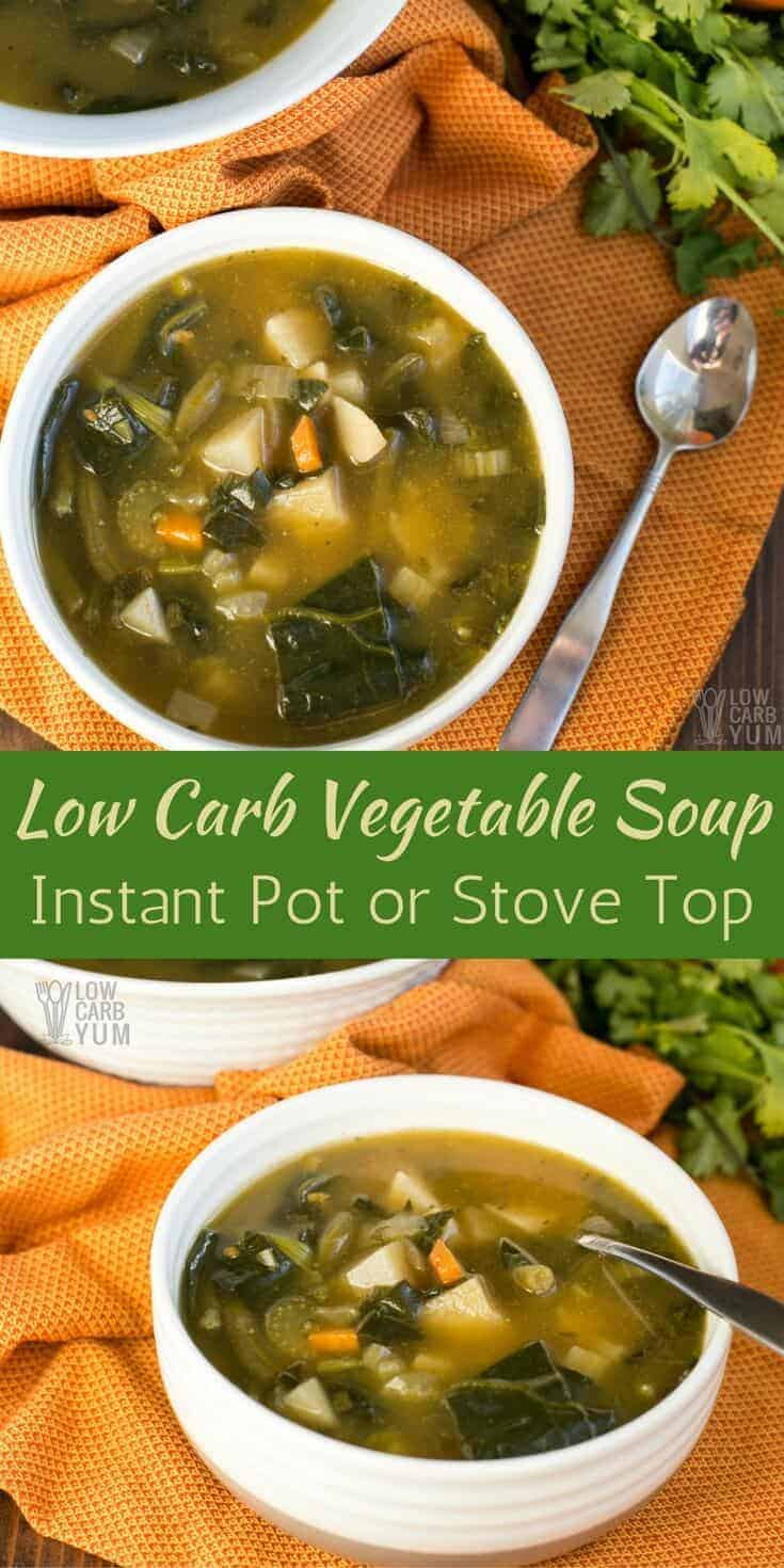 A chunky low carb vegetable soup that's easy to make in the Instant Pot or on the stove top. It's an AIP paleo friendly recipe that's simple to prepare. #AIPpaleo #keto #InstantPot | LowCarbYum.com