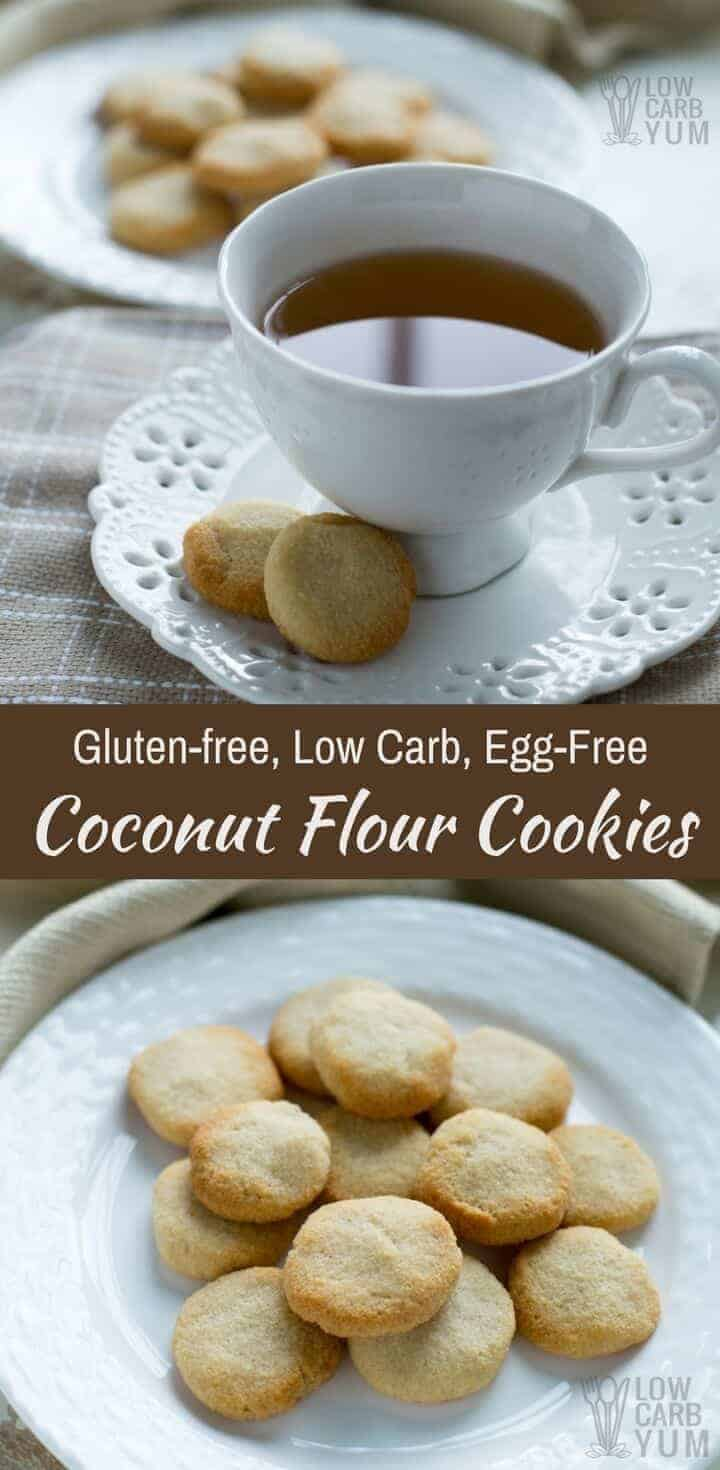 Easy to make no egg cookies made low carb and gluten free. These coconut flour cookies are a simple treat that take little time to prepare. #lowcarbcookies #ketocookies #coconutflour | LowCarbYum.com