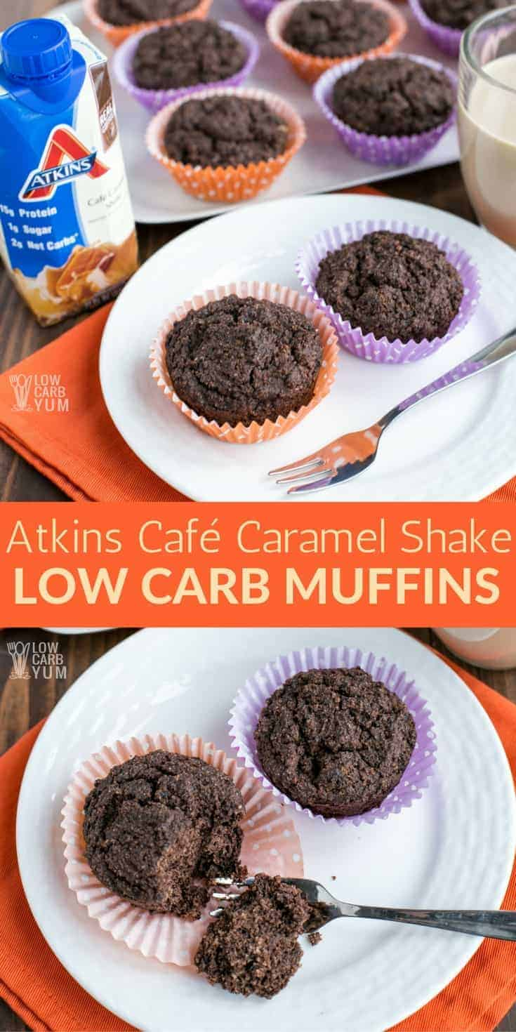 These chocolate Atkins breakfast muffins are are made with the Atkins Café Caramel Shake. They are perfect as a morning treat or a low carb keto snack later in the day. #keto #atkins #lowcarb | LowCarbYum.com