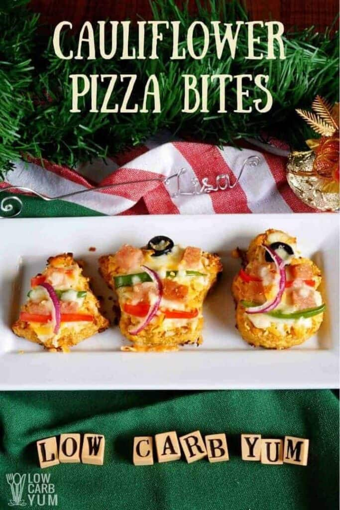 Cauliflower pizza bites in festive shapes