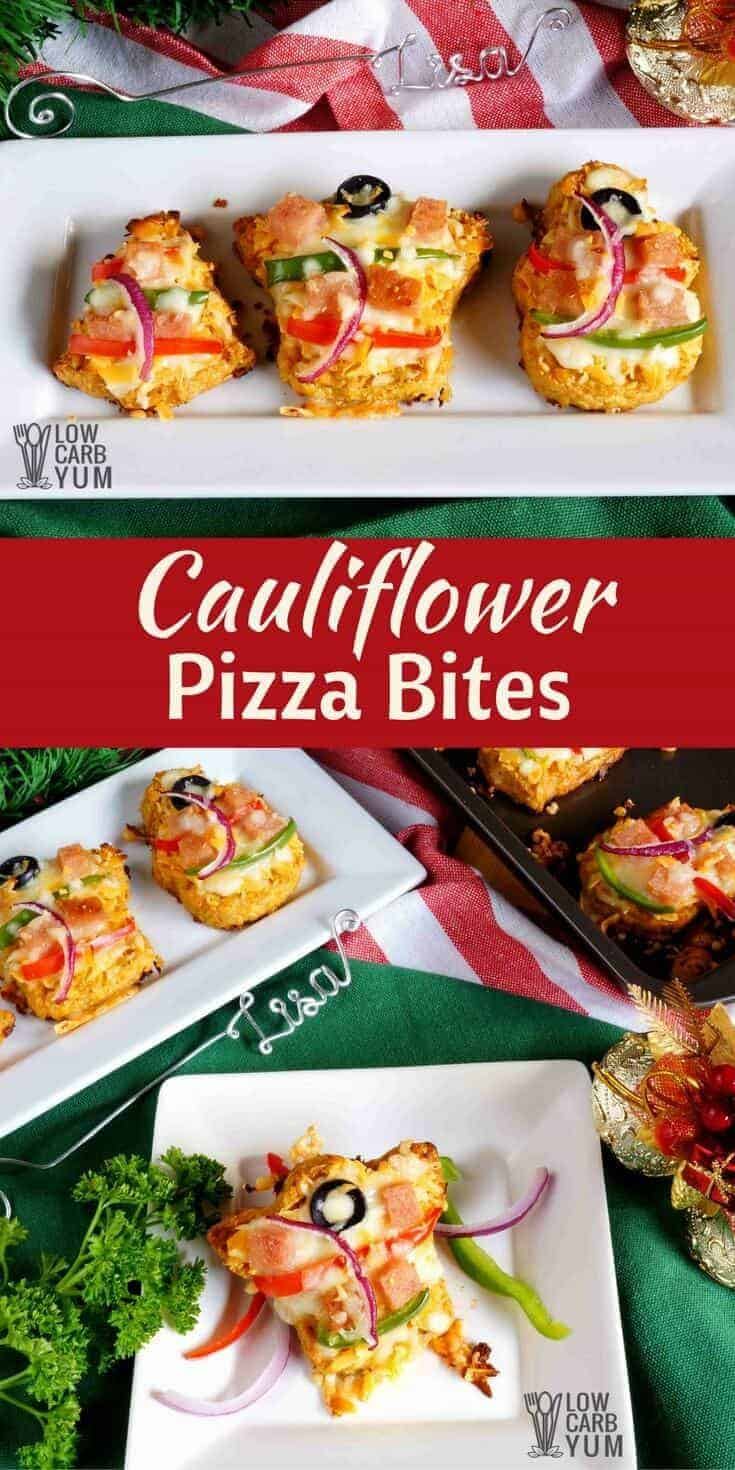 Celebrate with keto low carb cauliflower pizza bites made in festive shapes. They can even be prepared in advanced and heated just before serving. #keto #lowcarb #ketorecipe | LowCarbYum.com