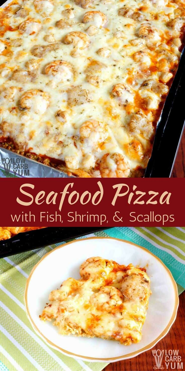 An easy to make cauliflower sheet pan pizza with fish, scallops, and shrimp. It's a seafood lover's delight and perfect for Lenten Fridays. #keto #lowcarb #ketorecipe #seafood | LowCarbYum.com
