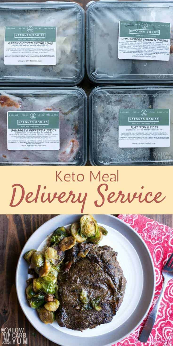 No time to cook your own low carb meals? Try the Ketoned Bodies keto meal delivery service to get frozen dinners shipped to your door. #lowcarb #keto | LowCarbYum.com