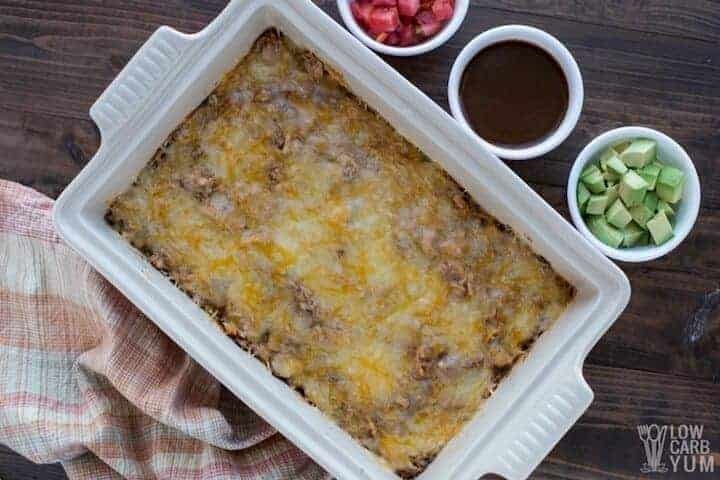 Keto low carb chicken enchilada casserole using leftovers