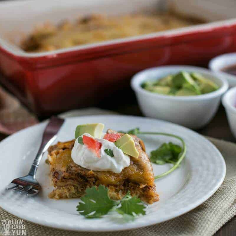 Low Carb Chicken Enchilada Casserole Low Carb Yum