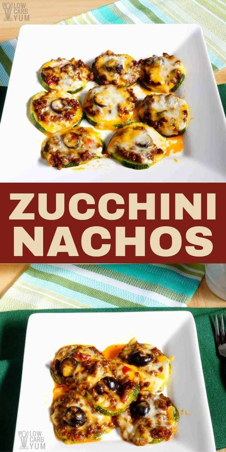 It's easy to make healthy zucchini nachos baked with leftover no bean chili. These low carb nachos make a great keto snack or appetizer that's quick to prepare. #ketorecipe #keto #lowcarb #chili | LowCarbYum.com