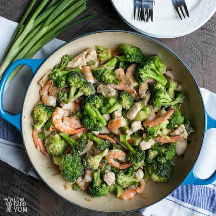 Low carb chicken and shrimp stir fry
