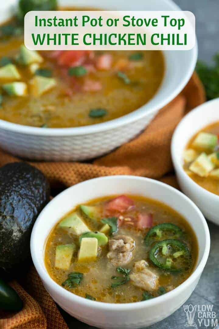 Pressure cooker low carb paleo white chicken chili recipe