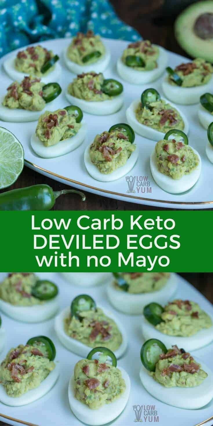 For a change of pace, try these spicy keto deviled eggs without mayo. They can be made mild to hot depending on the preference. And they are quick and easy to prepare. #keto #ketorecipe #lowcarb | LowCarbYum.com