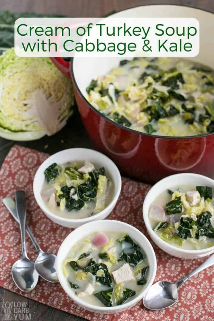 Easy cream of turkey soup with cabbage and kale recipe