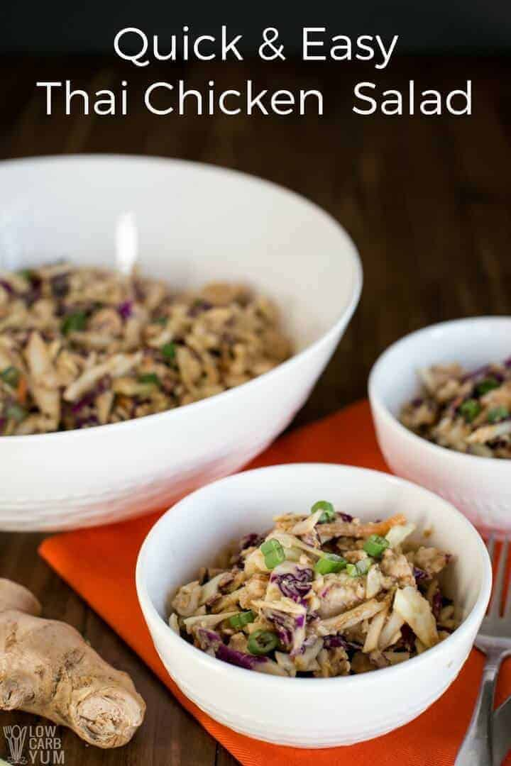 A quick and easy Thai chicken salad with canned chicken that tastes amazing. It's simple to prepare and made with budget friendly ingredients. The dish is sure to become a regular! #easyrecipe #salad #ketorecipe | LowCarbYum.com