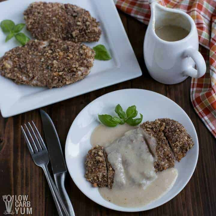 Simple parmesan pecan crusted chicken breast with garlic sauce
