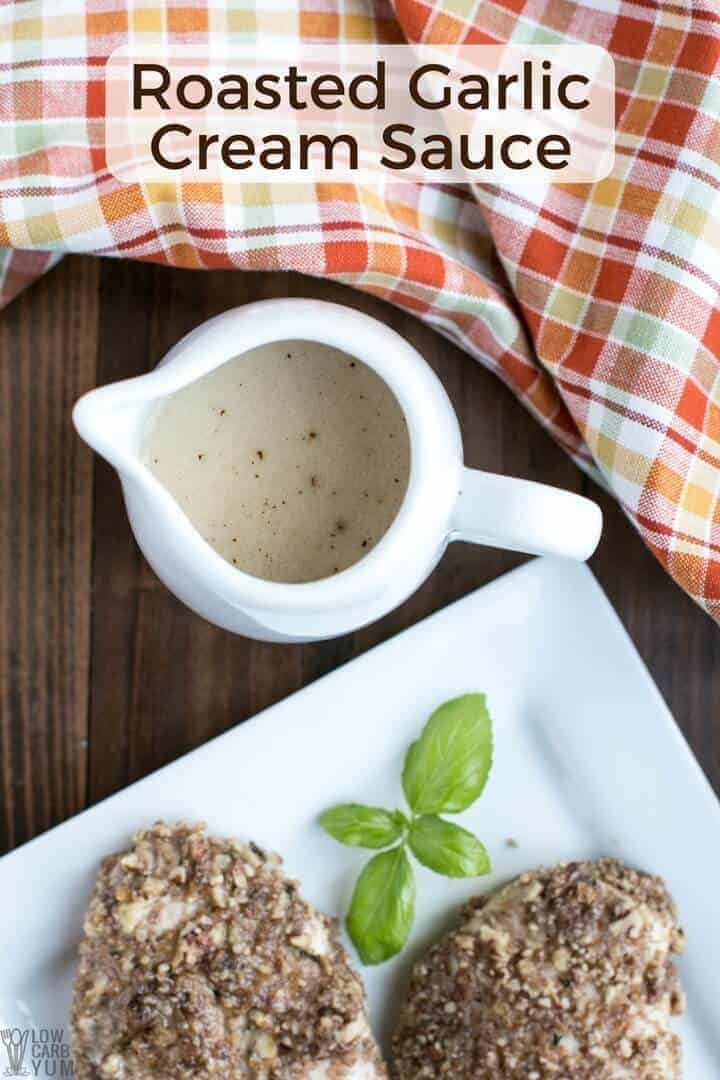 A simple roasted garlic cream sauce with paleo option