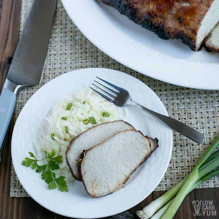 Easy low carb keto friendly char siu Chinese BBQ pork recipe made in the oven without sugar