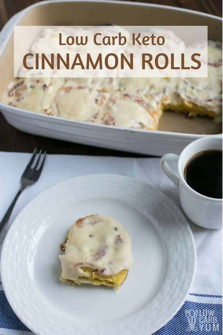 It's simple to make keto cinnamon rolls using coconut flour fathead dough. Serve them warm with melted cream cheese icing on top. They are a heavenly treat any time of day. #lowcarb #keto #ketorecipes | LowCarbYum.com