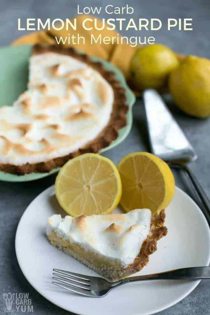 Keto low carb lemon custard pie with meringue