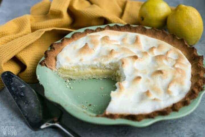sliced keto lemon meringue pie