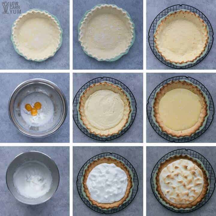 How to make a keto low carb lemon custard pie with meringue