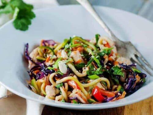 Peanut Chicken Zucchini Noodles Recipe Low Carb Yum