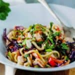 peanut chicken zucchini noodles in bowl with fork