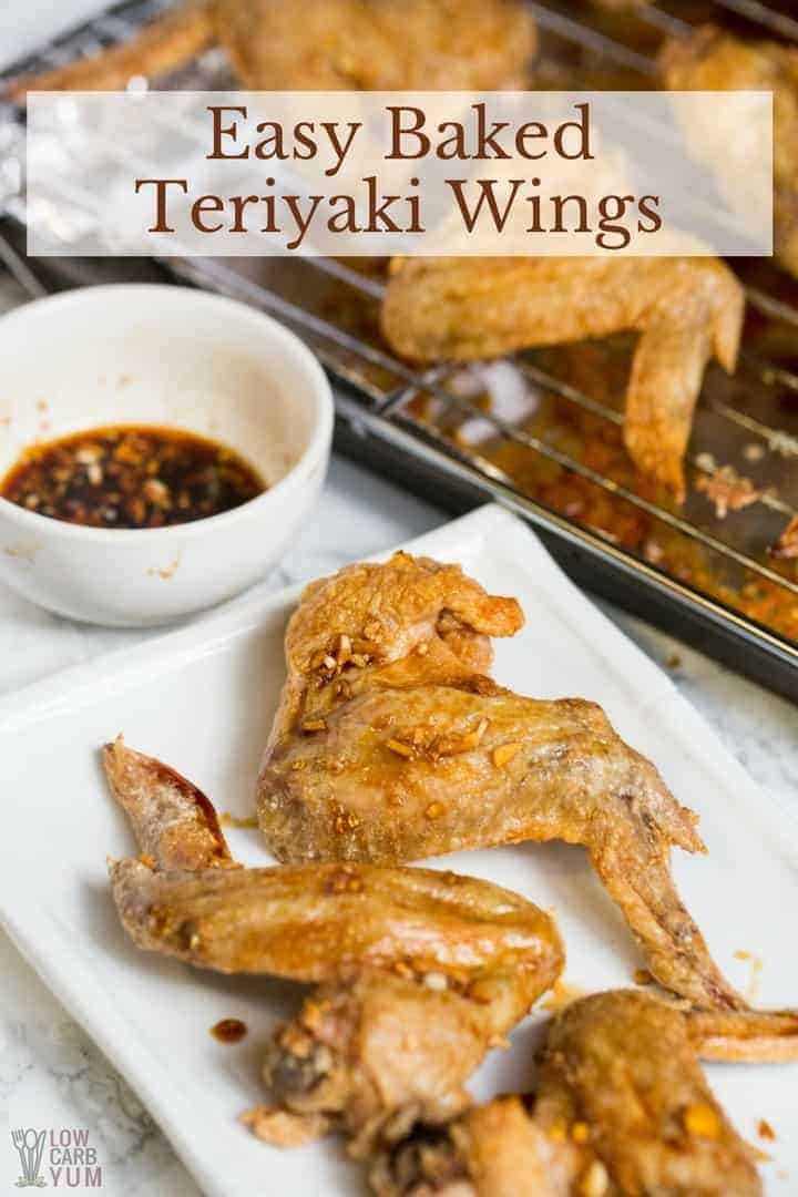 Miss those days going down to the local pub for wing night? Well, now you can make this yummy, healthy low carb Easy Baked Teriyaki Wings recipe that the whole family will enjoy. #keto #lowcarb #ketorecipe #teriyaki #chickenwings | LowCarbYum.com