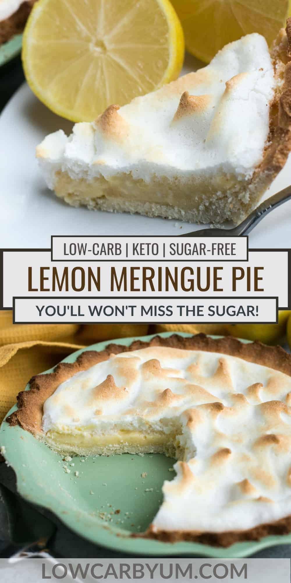 keto lemon meringue pie pinterest image