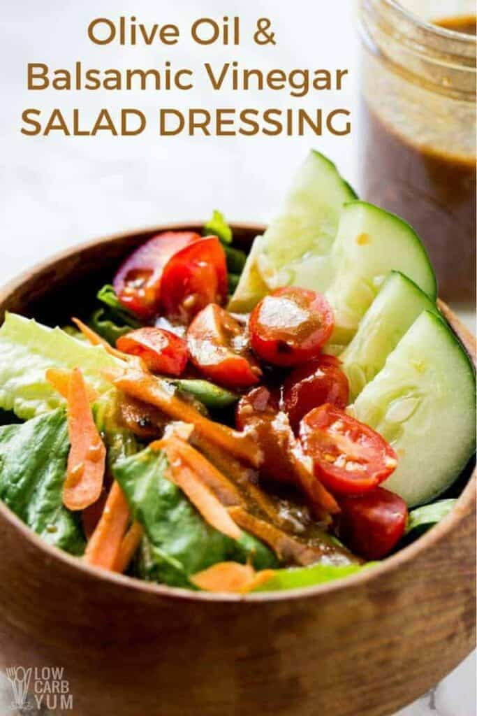 Keto low carb olive oil and balsamic vinegar salad dressing