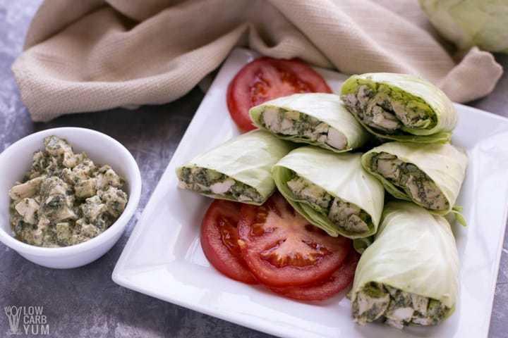 A simple low carb paleo chicken pesto salad wrap recipe