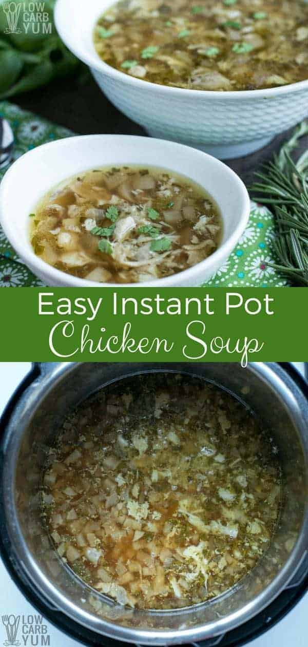 Need a simple yet savory instant pot chicken thighs soup recipe? You're in luck. The best thing is that prep time is only 10 minutes. So you'll be enjoying a hearty, delicious and nutritious meal before you know it. #InstantPot #chickensoup #PressureCooker #lowcarb | LowCarbYum.com